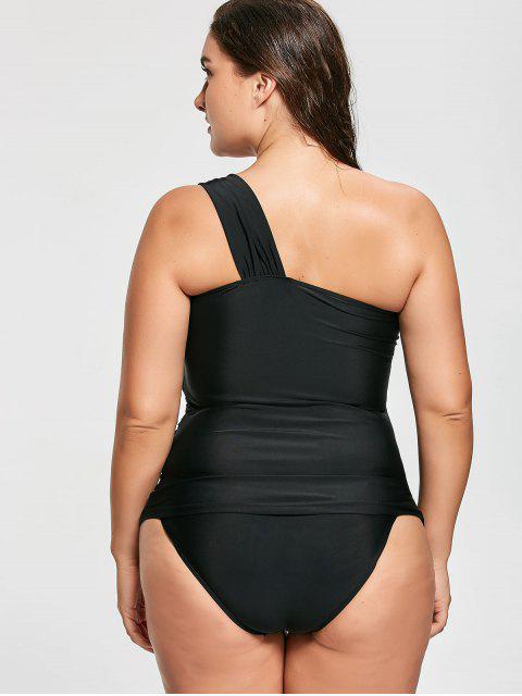 trendy One Shoulder Plus Size Tankini Set - BLACK XL Mobile