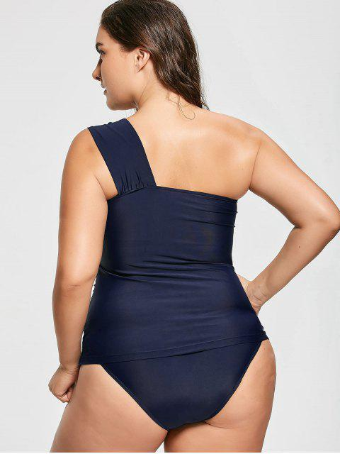 fashion One Shoulder Plus Size Tankini Set - DEEP BLUE 3XL Mobile