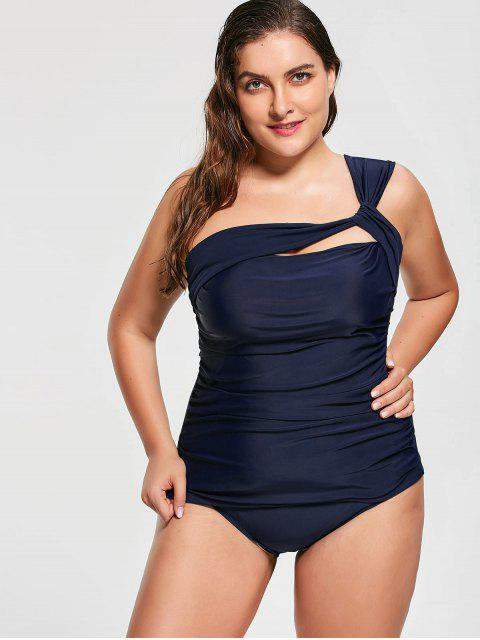 chic One Shoulder Plus Size Tankini Set - DEEP BLUE 2XL Mobile