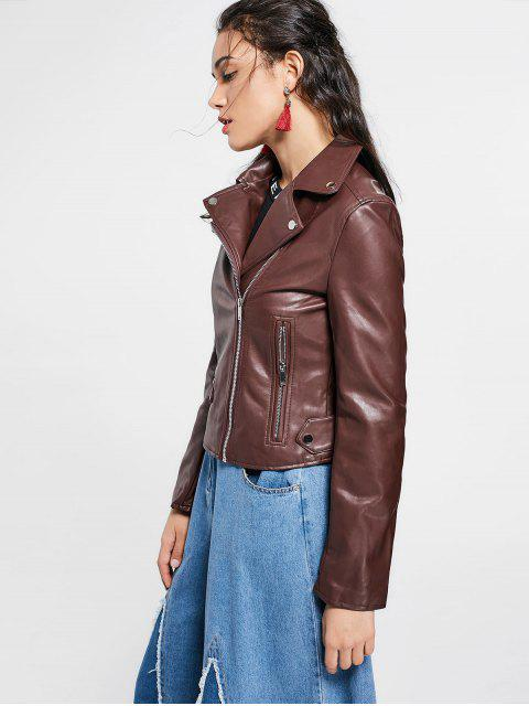 outfit Zip Up Pockets Faux Leather Jacket - DARK AUBURN M Mobile