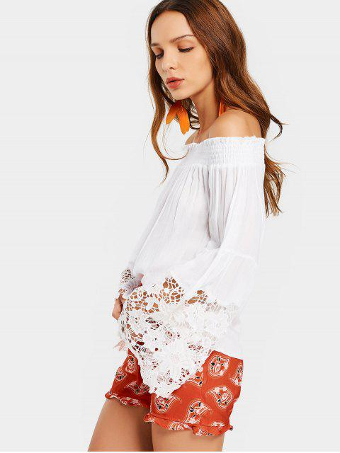 shop Off Shoulder Lace Panel Flare Sleeve Blouse - WHITE ONE SIZE Mobile