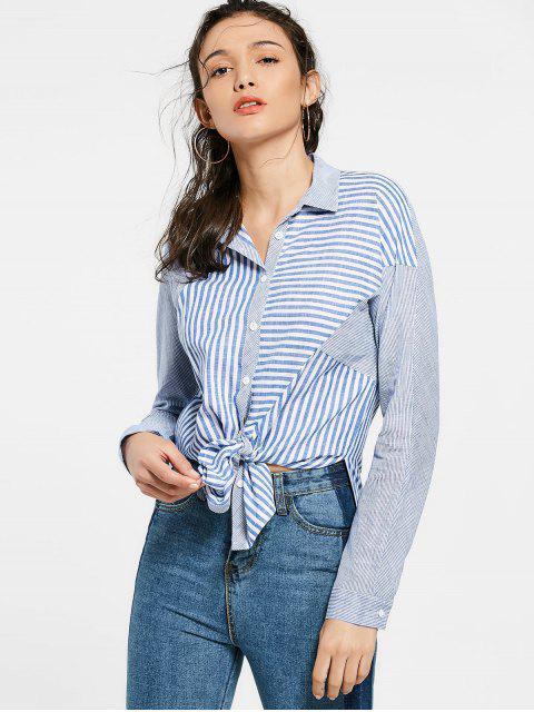 fancy Button Up Striped Long Shirt - BLUE S Mobile