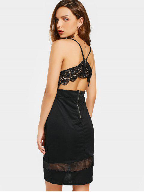 trendy Lace Panel Cami Club Dress - BLACK M Mobile