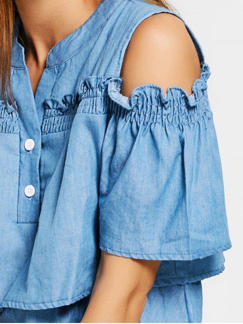 buy Cold Shoulder Ruffles A Line Dress - DENIM BLUE L Mobile