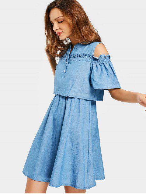 ladies Cold Shoulder Ruffles A Line Dress - DENIM BLUE 2XL Mobile