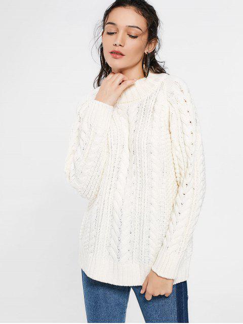 Kabel gestrickter Langer Pullover mit hohem Ausschnitt - Beige L Mobile