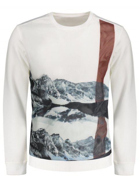 Sweat-shirt Imprimé Paysage à Empiècement en Maille - Blanc 2XL Mobile