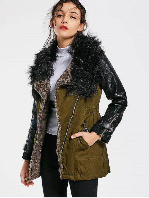 Color Bloque Faux Fur Collar abrigo de manga larga - Ejercito Verde L Mobile