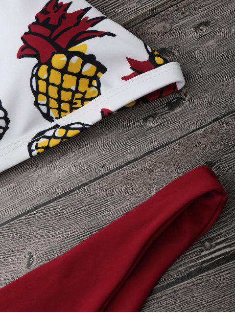 affordable High Cut Pineapple Print Bikini Set - WINE RED L Mobile