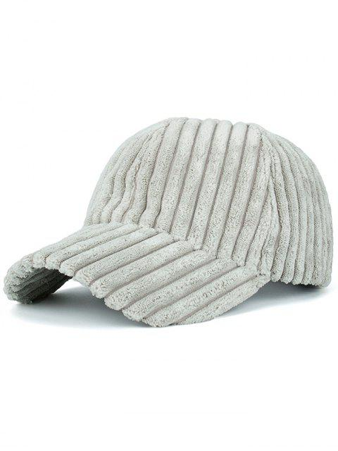 chic Winter Warm Faux Fur Striped Baseball Hat - LIGHT GRAY  Mobile