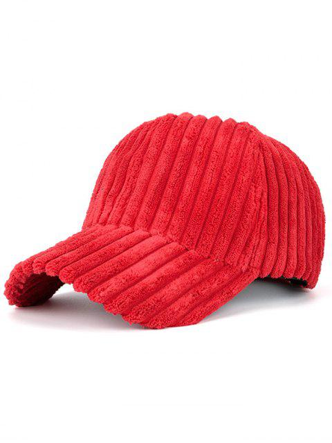 sale Winter Warm Faux Fur Striped Baseball Hat - RED  Mobile