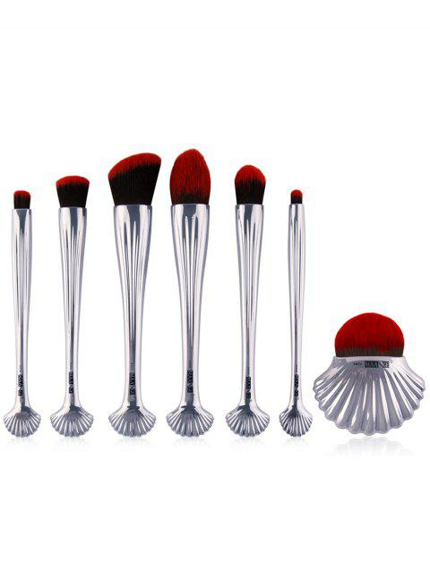 fashion 7Pcs Ocean Shell Hadle Plating Makeup Brushes Set - SILVER  Mobile