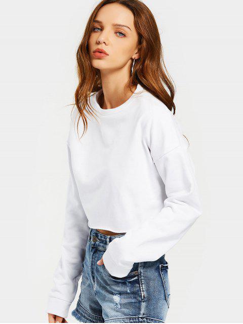 women Drop Shoulder Crop Sweatshirt - WHITE S Mobile