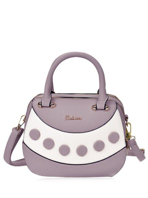 affordable Textured Leather Color Block Handbag - PURPLE  Mobile