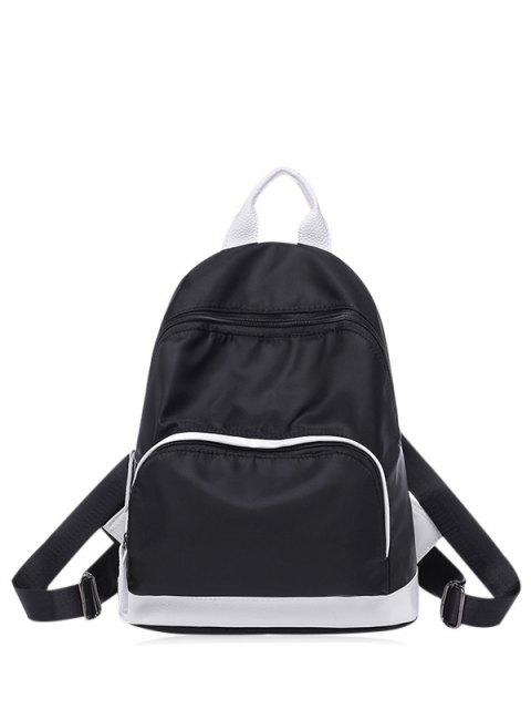 Nylon Color Block Zippers Mochila - Negro  Mobile