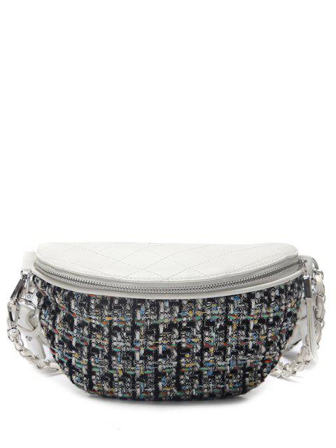 lady Quilted Plaid Pattern Chain Crossbody Bag - WHITE  Mobile