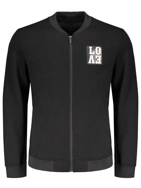 affordable Love Embroidered Zippered Baseball Jacket - BLACK 2XL Mobile