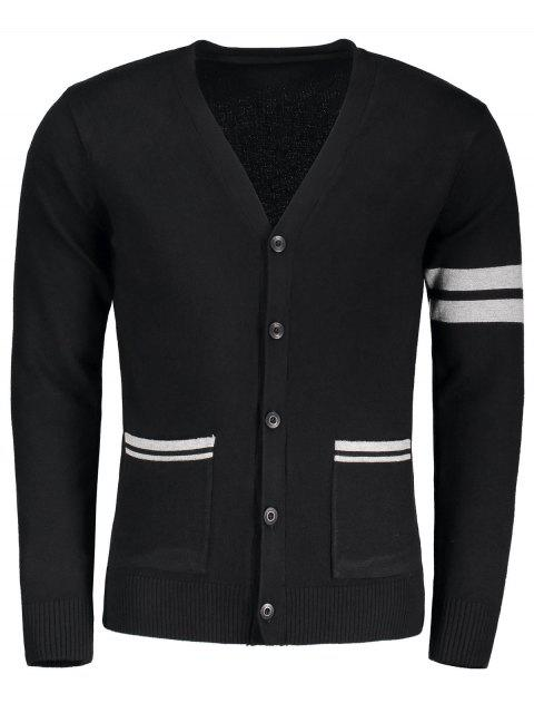 online V Neck Button Up Cardigan - BLACK XL Mobile
