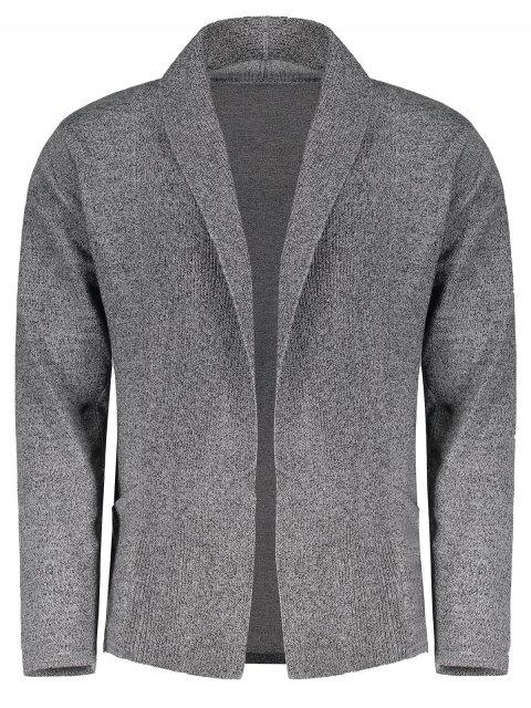 fashion Shawl Collar Open Front Cardigan - FEATHER GRAY L Mobile