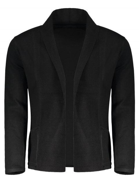 affordable Shawl Collar Open Front Cardigan - BLACK M Mobile