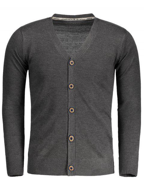 women Button Up V Neck Cardigan - DEEP GRAY L Mobile