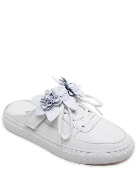 ladies Tie Up Faux Leather Flowers Flat Shoes - WHITE 40 Mobile