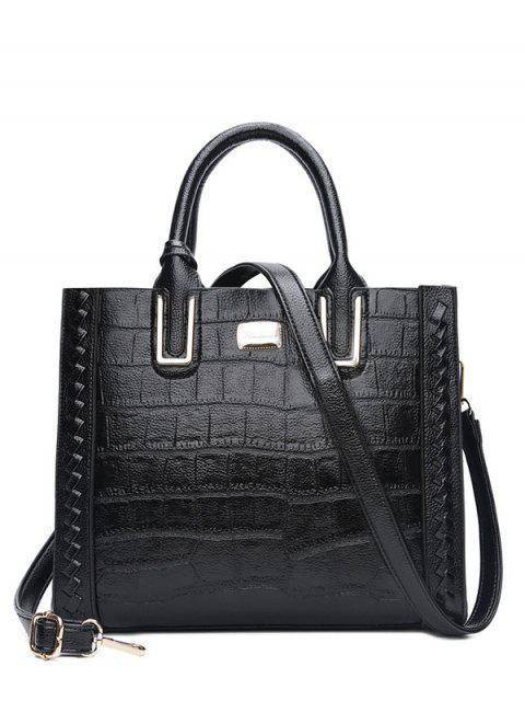 fashion Weave Textured Leather Tote Bag - BLACK  Mobile