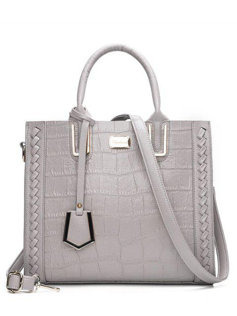 fancy Weave Textured Leather Tote Bag - GRAY  Mobile