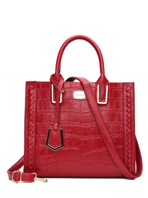 sale Weave Textured Leather Tote Bag - RED  Mobile