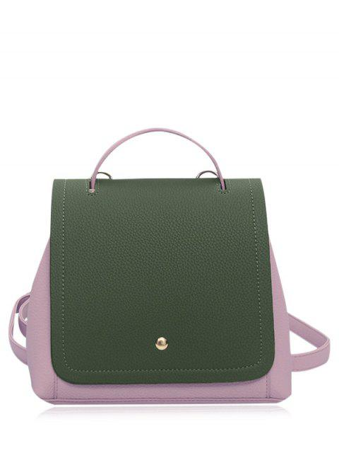 outfit Color Block Textured Leather Backpack - GREEN  Mobile