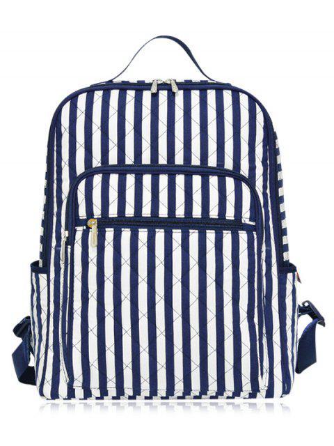 trendy Striped Pettern Zippers Quilted Backpack - BLUE AND WHITE  Mobile