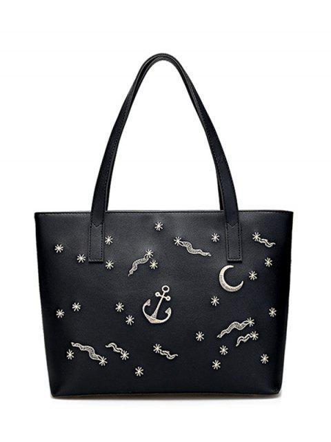 fashion Faux Leather Embroidery Shoulder Bag - BLACK  Mobile
