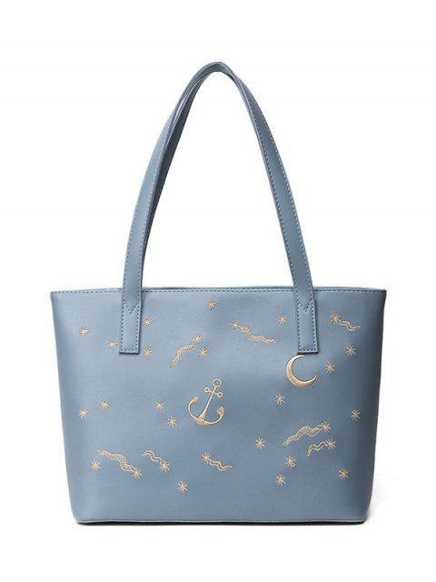 chic Faux Leather Embroidery Shoulder Bag - BLUE  Mobile