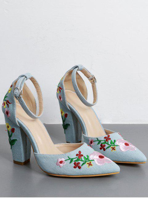 outfit Embroidery Block Heel Two Piece Pumps - LIGHT BLUE 39 Mobile