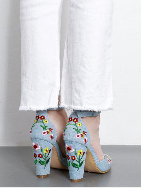 shop Embroidery Block Heel Two Piece Pumps - LIGHT BLUE 37 Mobile