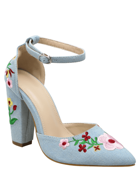 shops Embroidery Block Heel Two Piece Pumps - LIGHT BLUE 38 Mobile