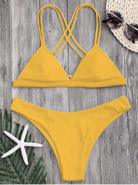 women's High Cut Cross Back Thong Bikini - YELLOW L Mobile