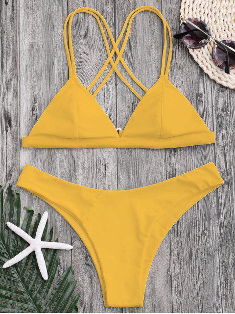 ladies High Cut Cross Back Thong Bikini - YELLOW M Mobile