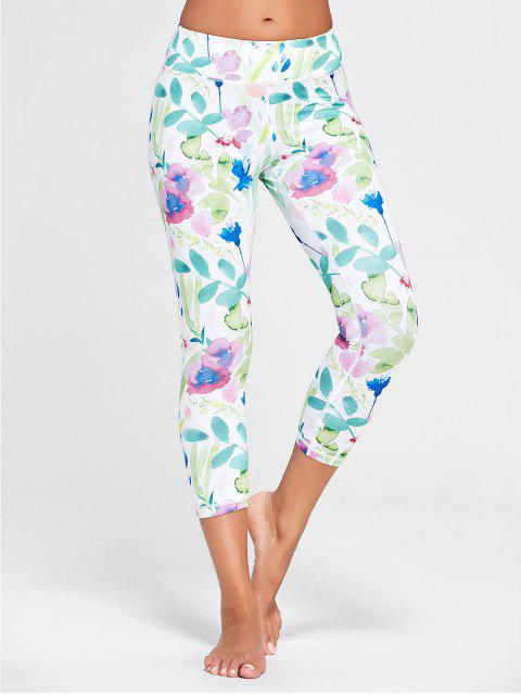 affordable Flower Patterned Workout Tights - WHITE XL Mobile