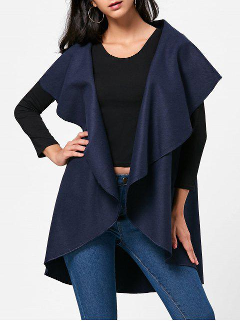 women's Wool Blend Sleeveless Open Front Cape - PURPLISH BLUE ONE SIZE Mobile