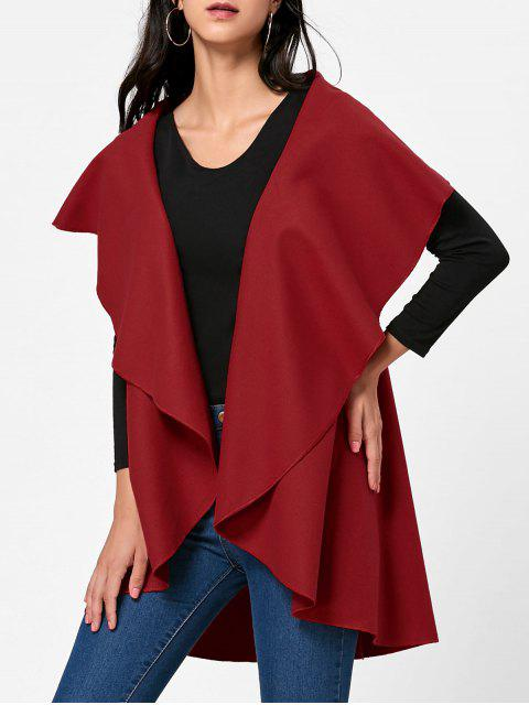 ladies Wool Blend Sleeveless Open Front Cape - RED ONE SIZE Mobile