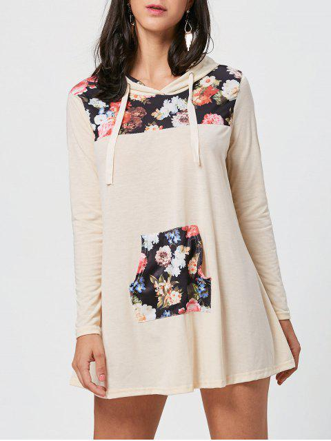 shop Floral Print Kangaroo Pocket Hooded Mini Dress - COLORMIX XL Mobile