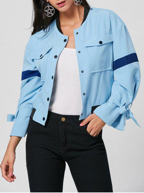 Bell Sleeve Pocket Bomber Jacke - windsor blau  S Mobile