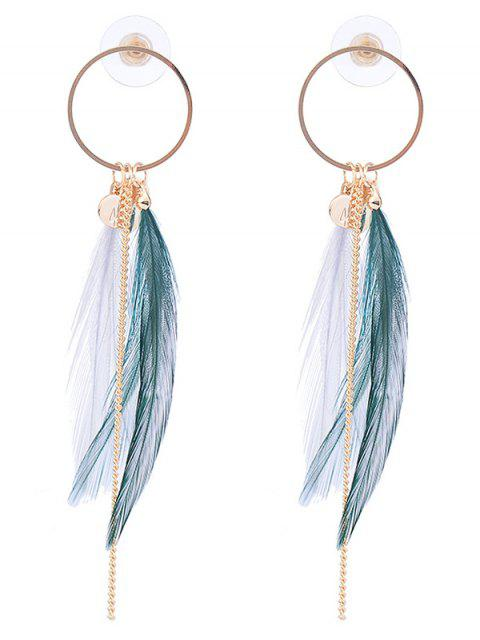 unique Link Chain Circle Natural Feather Drop Earrings - WHITE AND GREEN  Mobile