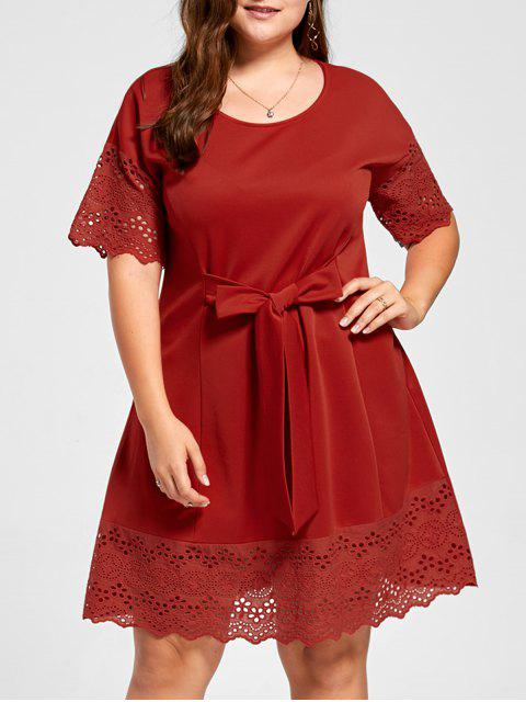 shops Plus Size Tie Front Broderie Dress - RED 3XL Mobile