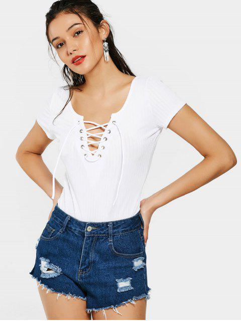 fancy Plunging Neck Lace Up High Cut Bodysuit - WHITE M Mobile