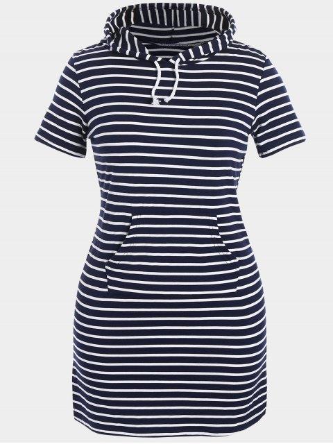 Gestreiftes Hoodie Übergröße Bodycon Kleid - Schwarzblau 5XL Mobile