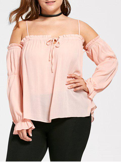 Plus Size Dew Shoulder Frill Blusa - Naranja Rosa 5XL Mobile
