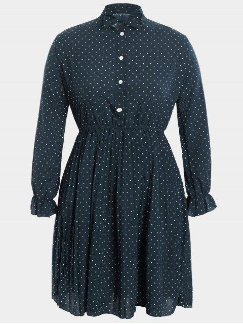 Übergröße Kleid mit Schlips und  Polka Tupfen - Cadetblue 4XL Mobile