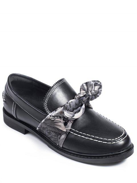 affordable Stitching Bow PU Leather Flat Shoes - BLACK 38 Mobile